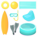 Set of equipment for summer recreation, for sports and entertainment on the water and under water. Stock Photos