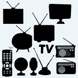 Set of equipment: television, antenna, remote control, radio and webcam. Isolated on blue background. Vector silhouettes Royalty Free Stock Photo