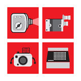 Set with equipments in retro style, film camera, camera, typewriter. Vector illustration Stock Image