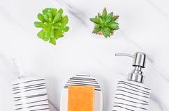 Set eramic pompowa butelka dla ciekłego mydła fotografia stock