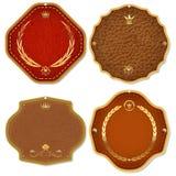 Set erstklassige Kennsätze des Leders u. des Goldes Qualitäts. Stockbild