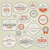 Set erstklassige Qualitätskennsätze und -abzeichen der Weinlese Lizenzfreies Stockfoto