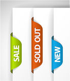 Set of eshop tags for new, sale and sold out items Royalty Free Stock Photos