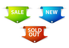 Set of eshop tags for new, sale and sold out items Stock Photos