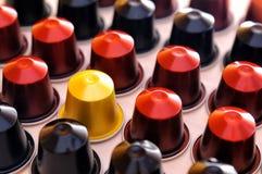 Set of espresso coffee capsules aligned diagonally Stock Photography