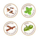 Set of essential oils labels. Cloves, peppermint, cinnamon, basil Stock Photography