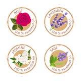 Set of essential oils labels. Rose, Sage, Lavender, jasmine Stock Images