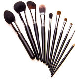 Set of essential professional make-up brushes Stock Images