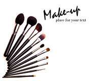 Set of essential professional make-up brushes Royalty Free Stock Image
