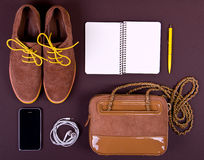 Set of essentials of modern people. Kit of student, teenager, young woman or guy. Aerial view of fashion essentials for modern active person. Different objects Stock Photo