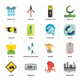 Set of established, , towing, hoopoe, buterfly, eagle head, car crash, lithium battery, water filter icons. Set Of 16 simple editable icons such as established Royalty Free Stock Photos