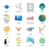 Set of estimate, video call, symptoms, turbo, d-star, high performance, abacus, personal details, semi truck icons. Set Of 16 simple editable icons such as Stock Photo