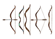 Set of ethnic arrow and bow isolated on white background. Stock Images