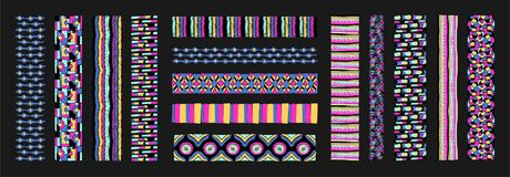 Set of ethnic art brushes in African style. The Aztec pattern. Oriental lace tap Stock Photography