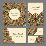 Set ethnic banners with feathers. Set of business templates for printing. Banners with abstract ethnic decorative pattern in brown colors. The pattern of the Royalty Free Stock Image