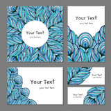 Set ethnic banners with feathers. Set banners with decorative pattern abstract ethnic feathers, turquoise blue black white, vector illustration Royalty Free Stock Images