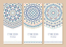 Set of ethnic banners. Stylish tribal geometric backgrounds. Templates for design with aztec ornaments. Vector illustration Royalty Free Stock Image