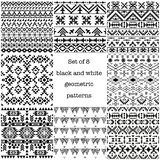Set of 8 ethnic black and white geometric patterns. Seamless wallpaper, vector illustration. Motives of american indians, navajo and aztec tribes vector illustration