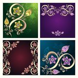 Set of Ethnic cards with cucumbers and paisley. Royalty Free Stock Images