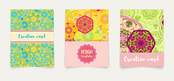 Set ethnic cards, invitations, flyers, banners a4. Royalty Free Stock Photography
