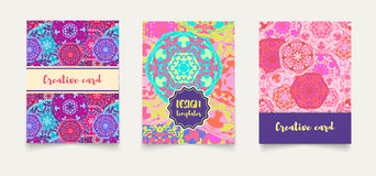 Set ethnic cards, invitations, flyers, banners a4. Stock Photo
