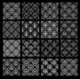 Set of ethnic damask vector patterns in black and white colors. Royalty Free Stock Photography