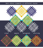 Set ethnic elements in different styles - cross, square, polygonal, knitted Royalty Free Stock Photography