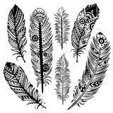 Set of ethnic feathers Stock Photos