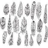 Set of ethnic feathers Royalty Free Stock Image