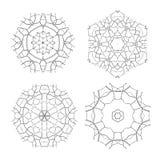Set of Ethnic Fractal Mandala Vector Meditation Tattoo looks like Snowflake or Maya Aztec Pattern or Flower too Isolated Stock Image