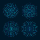 Set of Ethnic Fractal Mandala Vector Meditation Tattoo looks like Snowflake or Maya Aztec Pattern or Flower too Isolated Stock Images