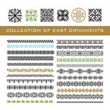 Set of Ethnic geometric signs and borders. East otnament for you. R design. Vector illustration Royalty Free Stock Image