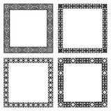 Set of ethnic geometric square frames in black color. Set of geometric frames in black color isolated on white background. Four square with ethnic borders. For Stock Images
