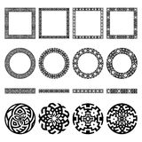 Set of ethnic greek borders, round and square frames, signs Royalty Free Stock Images