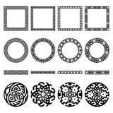 Set of ethnic greek borders, round and square frames, signs. Mega set of ethnic design elements. Greek traditional symbolic border, round and square frames Royalty Free Stock Images