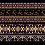 Set of Ethnic holiday ornament pattern in brown colors. Vector illustration. From collection of Balto-Slavic ornaments Stock Photography