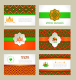 Set of ethnic Indian banners in national colors. Stock Image