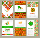 Set of ethnic Indian banners in national colors. Royalty Free Stock Images