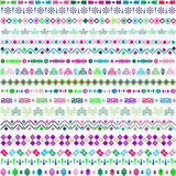 Set of ethnic motifs with multicolored elements Stock Photography