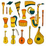 Set of Ethnic musical folk instruments in hand drawn style. Set of Ethnic musical folk instruments: flute pan, recorder, violin, string instruments and others stock illustration