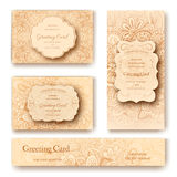 Set of ethnic ornament banners and flyer concept. Vintage art traditional, Islam, arabic, indian, ottoman motifs Royalty Free Stock Photography