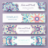 Set of ethnic ornament banners and flyer concept. Vintage art traditional, Islam, arabic, indian, ottoman motifs Stock Photography