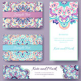 Set of ethnic ornament banners and flyer concept. Vintage art traditional, Islam, arabic, indian, ottoman motifs Royalty Free Stock Image