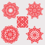 Set ethnic ornament mandala patterns in red color Stock Photo