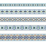 Set of Ethnic ornament pattern in blue and brown colors. Vector illustration. From collection of Balto-Slavic ornaments Stock Image