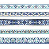 Set of Ethnic ornament pattern in blue and brown colors. Vector illustration. From collection of Balto-Slavic ornaments Stock Illustration