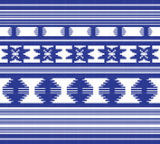 Set of Ethnic ornament pattern in blue color Stock Image