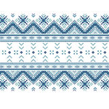 Set of Ethnic ornament pattern in blue colors. Vector illustration. From collection of Balto-Slavic ornaments Stock Photo
