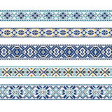 Set of Ethnic ornament pattern in blue colors Royalty Free Stock Images