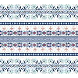 Set of Ethnic ornament pattern in blue colors. Vector illustration. From collection of Balto-Slavic ornaments Royalty Free Stock Photos